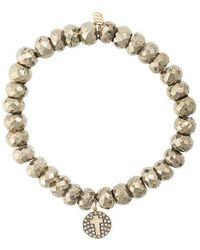 Sydney Evan - 14kt Gold Diamond Cross Disc Charm Bracelet - Lyst