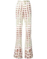 Prada - Crepe De Chine Trousers - Lyst