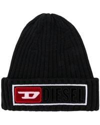 DIESEL - Ribbed Logo Beanie Hat - Lyst