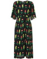 MUVEIL - Knotted Floral Midi Dress - Lyst