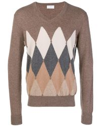 Ballantyne - Argyle Knitted Vneck Sweater - Lyst