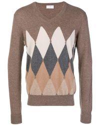 Ballantyne - V Collar Cashmere Sweater With Argyle Intarsia - Lyst