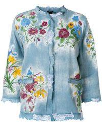 Avant Toi - Embroidered Raw Edge Denim Jacket - Lyst