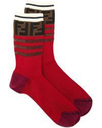 Fendi - Striped Ff Logo Socks - Lyst