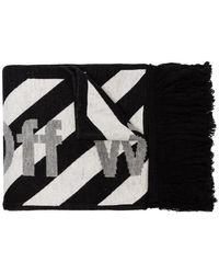 Off-White c/o Virgil Abloh - Black And White Striped Logo Print Scarf - Lyst