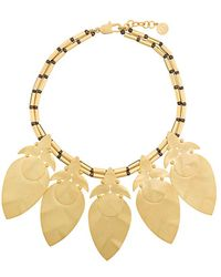 Tory Burch - Hammered Leaf Necklace - Lyst
