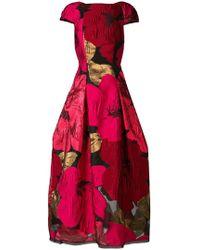 Talbot Runhof - Oversized Poppy Print Dress - Lyst