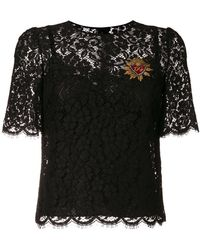 Dolce & Gabbana - Sacred Heart Lace Top - Lyst