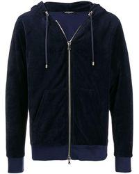 Balmain Veste zippée en velours à capuche - Bleu