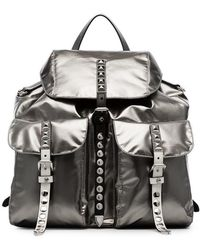 Prada - Metallic Stud Embellished Leather Backpack - Lyst