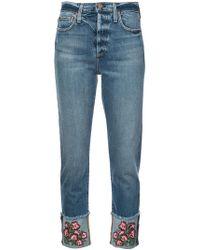 Alice + Olivia - Big Blooms Embellished Jeans - Lyst