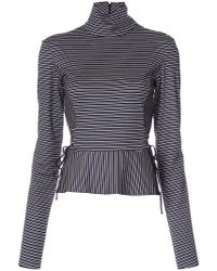 TOME - High Neck Striped Blouse - Lyst