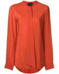 Erika Cavallini Semi Couture - Draped Detail Collarless Blouse - Lyst