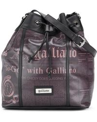 John Galliano - Newspaper Print Bucket Bag - Lyst