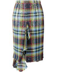 Marco De Vincenzo - Multi Tartan Ruffled Skirt - Lyst