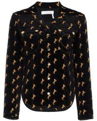Chloé - Horse Embroidered Velvet Shirt - Lyst
