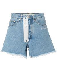 Off-White c/o Virgil Abloh - High Waisted Frayed Denim Shorts - Lyst