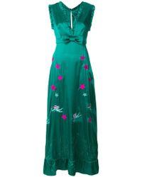 John Richmond - Embroidered Ruffle Hem Maxi Dress - Lyst