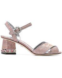 Dolce & Gabbana - Cross Front Jeweled Heel Sandal - Lyst