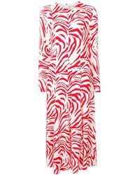 MSGM Robe longue à imprimé zèbre