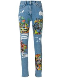Jeremy Scott - Los Exitos Distressed Print Jeans - Lyst