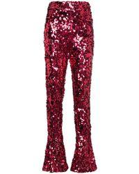 Halpern - High Waisted Sequin Flared Trousers - Lyst