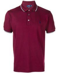 Polo Ralph Lauren - Stripe Tipped Polo Shirt - Lyst