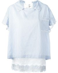Sacai - Striped Collar Top - Lyst