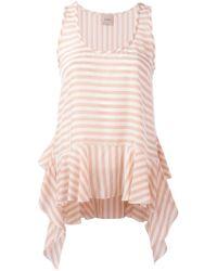 Nude   Striped Soft Peplum Vest   Lyst