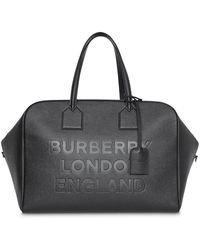 Burberry - Logo Embossed Leather Holdall - Lyst