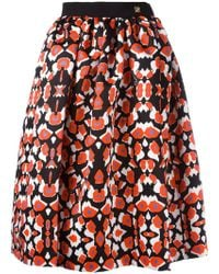 Class Roberto Cavalli - Patterned Pleated Skirt - Lyst