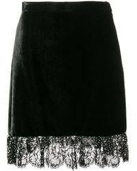 Miu Miu - Lace-trimmed Velvet Mini Skirt - Lyst