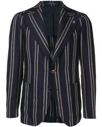 Tagliatore - Striped Buttoned Blazer - Lyst