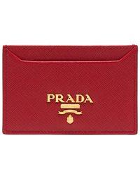 Prada - Red Logo Leather Cardholder - Lyst
