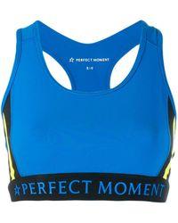 Perfect Moment Striped Racerback Sports Bra - Blue
