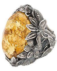 Lyly Erlandsson Yellow Aria silver ring GxX0q