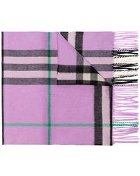 Burberry - Purple Classic Check Cashmere Scarf - Lyst