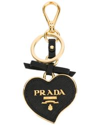 Prada - Saffiano Heart Keychain - Lyst