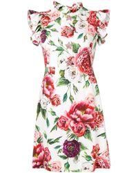 Dolce & Gabbana - Peony Print Cady Dress - Lyst