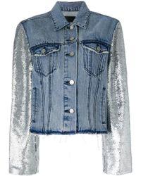 RTA - Metallic-sleeve Frayed Denim Jacket - Lyst