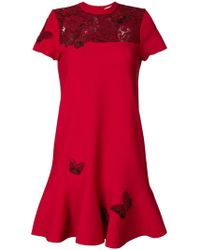 Valentino - Butterfly Embroidered Dress - Lyst