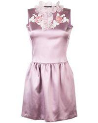 Giamba   Embroidered Ruffle Neck Dress   Lyst