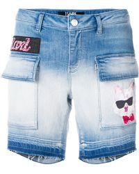 Karl Lagerfeld - Patch-appliqué Denim Shorts - Lyst