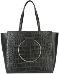 Little Liffner - Reptile Skin Effect Ring Detail Large Tote - Lyst
