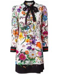 Gucci | Floral Snake Print Dress | Lyst