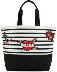 Karl Lagerfeld - Striped Print Tote Bag - Lyst