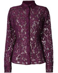 Talbot Runhof - Floral Mesh Shirt - Lyst