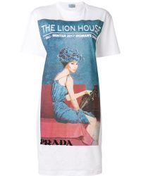 Prada - Longline Lion House T-shirt Dress - Lyst