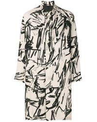 Yohji Yamamoto - Contrast-print Midi Coat - Lyst
