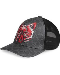 561a84022a3 Gucci - GG Supreme Baseball Hat With Wolf - Lyst
